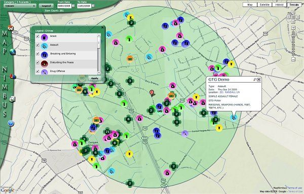 MapNimbus Crime Mapping Screenshot