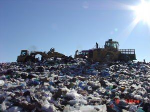 View of the waste in the Landfill