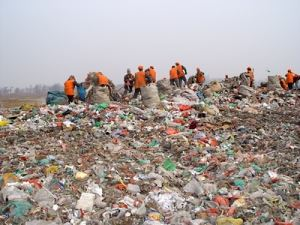 Workers Sifting Through Waste at the Landfill