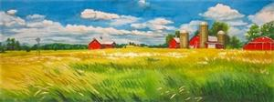 A watercolor painting of a field of grass with a red barn and silos in the background.